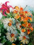 Watercolor art background colorful nature orange red white flower chamomile lilyes bouquet blossom branch spring garden Royalty Free Stock Photo