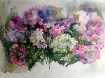 Watercolor art background colorful summer  flower lilac  blue violet white  phlox branch. Art abstract background executed with watercolors . delicate phlox Stock Images