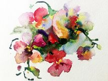 Watercolor art background colorful yellow red flower orchid violet pink romantic. Art background extruded watercolor. textured wet wash blurred brush wallpaper Royalty Free Stock Images