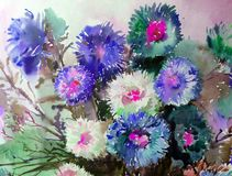 Watercolor art background delicate colorful nature flowers asters bouquet fresh romantic Royalty Free Stock Photo