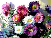 Watercolor art background delicate colorful nature flowers asters bouquet fresh romantic Stock Image