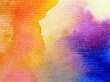 Watercolor art background delicate colorful nature sky sunrise rainbow  fresh romantic Royalty Free Stock Images