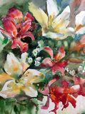 Watercolor art background fresh textured floral flowers lilies wet wash blurred overflow chaos fantasy. Art abstract background extruded in watercolor. nature Royalty Free Stock Photo