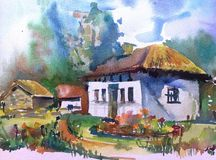 Watercolor art background landscape hut ancient old folk village  colorful textured. Art background  landscape with hunts executed with watercolors from nature Royalty Free Stock Photos