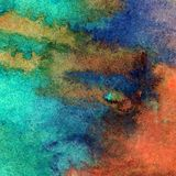Watercolor art background ocean sea dark coast underwater bright colorful textured wet wash blurred. Art abstract background executed watercolor. textured nature Royalty Free Stock Photos