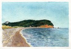 Watercolor art Montenegro. Beach. Royalty Free Stock Photo