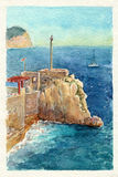 Watercolor art Montenegro. Fortress Castelo. Royalty Free Stock Images
