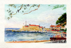 Watercolor art Montenegro. Fortress Castelo. Stock Photo