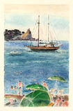 Watercolor art Montenegro.Island Sveta Nedelja and Katic. Royalty Free Stock Images