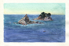 Watercolor art Montenegro.Island Sveta Nedelja and Katic. Stock Images