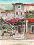 Watercolor art Montenegro. Old building. Royalty Free Stock Images