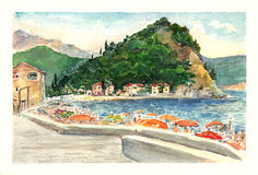 Watercolor art Montenegro. Stock Photos