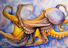 Watercolor art octopus. A hand painted watercolor art work of an octopus in the ocean. The tentacles are swirling and depicting movement and creating an Royalty Free Illustration