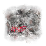 Watercolor art - Old European town with red bike Royalty Free Stock Photo