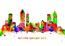 Watercolor art print of the skyline of Atlanta Georgia USA Royalty Free Stock Photos
