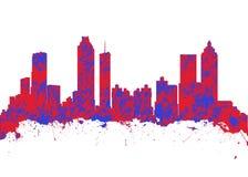 Watercolor art print of the skyline of Atlanta Georgia USA. On a white background Royalty Free Stock Image