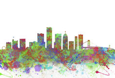 Watercolor art print of the skyline of Detroit United States Royalty Free Stock Photos