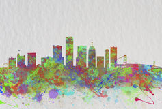 Watercolor art print of the skyline of Detroit United States Stock Photos