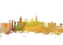 Watercolor art print of the skyline of Las Vegas Stock Photography