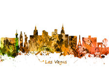 Watercolor art print of the skyline of Las Vegas Nevada City Stock Photography