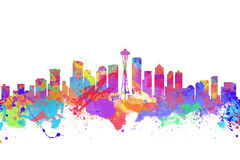 Watercolor art print of the skyline of Seattle. United States Stock Images