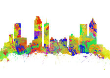 Watercolor art skyline of Atlanta Georgia USA Stock Images