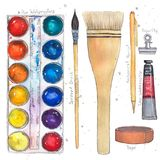 Watercolor art supplies pallet, brushes, tape, paper clip, mechanical pencil, tube. Hand drawn watercolor illustration Vector Illustration