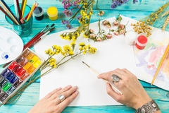 Watercolor artist at work Royalty Free Stock Photo