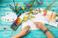Watercolor artist work place Stock Photo