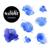 Watercolor artistic abstract paint drops collection isolated on white background. Hand drawn decor colorful elements set. Brush stroke. Ink drawing. Paint vector illustration