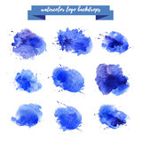 Watercolor artistic abstract paint drops collection isolated on white background. Hand drawn decor colorful elements set. Brush stroke. Ink drawing. Paint royalty free illustration