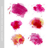 Watercolor artistic abstract paint drops collection isolated on white background. Stock Photography