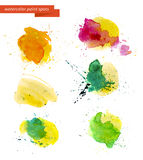 Watercolor artistic abstract paint drops collection isolated on white background. Royalty Free Stock Photography