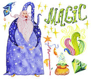 Watercolor artistic collection of magic hand drawn elements design isolated on white background. Wizard, lettering, smoke, fire, magic wand, crystal and powder Royalty Free Stock Photography