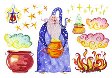 Watercolor artistic collection of magic hand drawn elements design isolated on white background. Wizard, pot, smoke, fire, magic powder bag and lantern set Royalty Free Stock Images