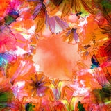 Watercolor artistic floral frame Royalty Free Stock Photo