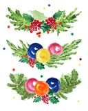 Watercolor artistic hand drawn christmas compositions set isolated on white background. Royalty Free Stock Images