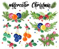 Watercolor artistic hand drawn christmas elements set isolated on white background. Happy New year & Merry Xmas compositions design collection. Good for party Royalty Free Stock Photos