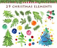 Watercolor artistic hand drawn christmas elements set isolated on white background. Royalty Free Stock Photos