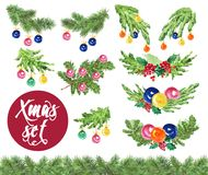 Watercolor artistic hand drawn christmas fir tree branch decorated set isolated on white background. Happy New year & Merry Xmas design collection. Good for Stock Photography