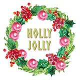 Watercolor artistic hand drawn christmas fir tree wreath decorated with balls & holly berry element & congratulation. Watercolor artistic hand drawn Royalty Free Stock Photo