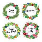 Watercolor artistic hand drawn christmas wreath set Royalty Free Stock Images