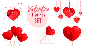 Watercolor artistic hand drawn Valentine day design element. Royalty Free Stock Photography