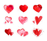 Watercolor artistic hand drawn Valentine day design element. Watercolor artistic heart symbol illustration. Heart shape red color hand drawn sign isolated on Royalty Free Stock Photo