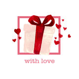 Watercolor artistic hand drawn Valentine day design element. Stock Photo