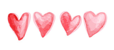 Watercolor artistic hand drawn Valentine day design element. Stock Images