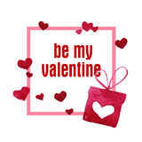 Watercolor artistic hand drawn Valentine day design element. Royalty Free Stock Images