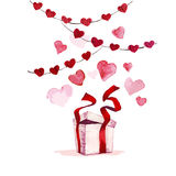 Watercolor artistic hand drawn Valentine day design element. Stock Photos