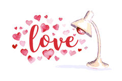 Watercolor artistic hand drawn Valentine day design element. Vector Valentine day hand drawn artistic lamp design element isolated on white background Royalty Free Stock Photo