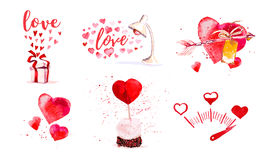 Watercolor artistic love elements and symbols Royalty Free Stock Photo